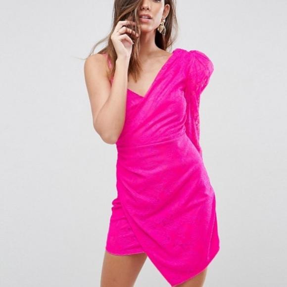 17f86cf6a9c1 ASOS Lace Shoulder Pad One Shoulder Mini Dress